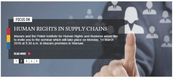 """Seminarium """"How companies can implement processes to mitigate the risks arising out of poor practices in the supply chain"""""""