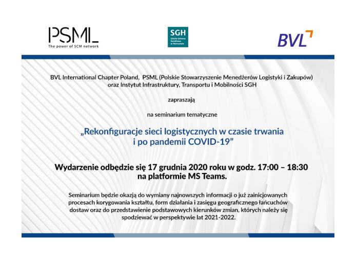 Zapraszamy na seminarium BVL/SGH i PSML: 17.12.2020