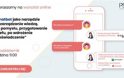 """Warsztat online – """"Chatbot jako narzędzie do zarządzania wiedzą. Od pomysłu, przygotowanie briefu, po wdrożenie i doświadczenie"""""""